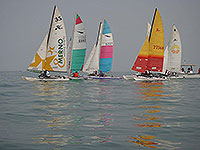 catamarans on the start line
